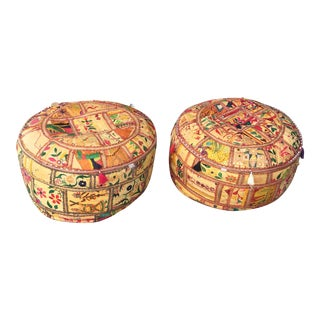 Tasseled Moroccan Poufs - A Pair