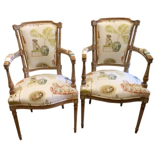 Antique Directoire Chairs with Dogs Fabric - Pair