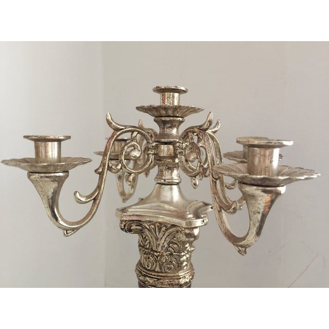 Vintage Wood & Silver Empire Candelabra - Image 4 of 10