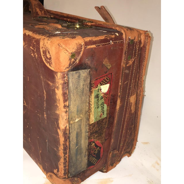 Image of Vintage Rustic Leather Suitcase