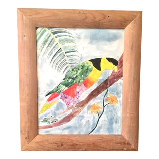 Framed Watercolor of a Parrot