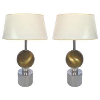 Mid-Century Brass & Chrome Table Lamps - Pair