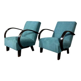 Pair of Bauhaus Czech 1930s Curved Arm Lounge Chairs
