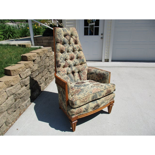 Tufted High Back Armchair With Beautiful Wood Detail - Image 5 of 11