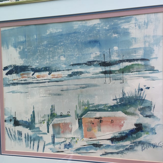 Mid Century Modern Alfred Birdsey Abstract Modernist Ocean Seascape Watercolor Painting Signed - Image 4 of 11