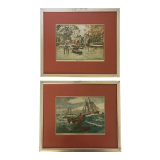 Framed Lionel Barrymore Nautical Prints - A Pair