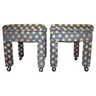 Star Motif Ottomans on Casters - A Pair