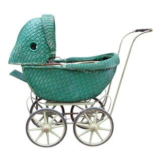 Victorian Style Green Wicker Buggy
