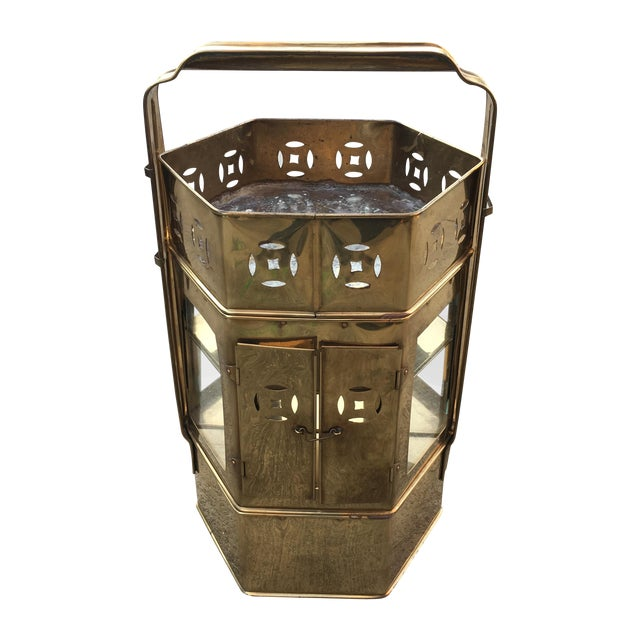 Brass Enclosed Table & Storage Stand - Image 1 of 6