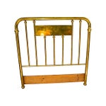 Image of Antique Brass Headboard With Decorative Panel