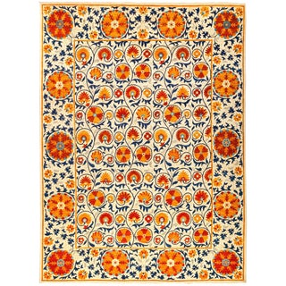 "Suzani, Hand Knotted Asian Inspired Orange Floral Area Rug - 9' 2"" X 12' 4"""