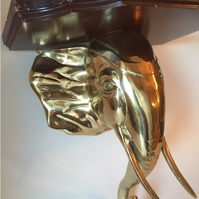 Image of Brass and Wood Elephant Shelf