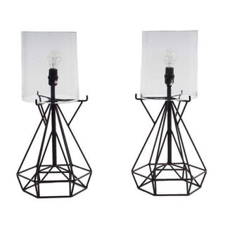 Aged Iron Cage Table Lamp - Pair
