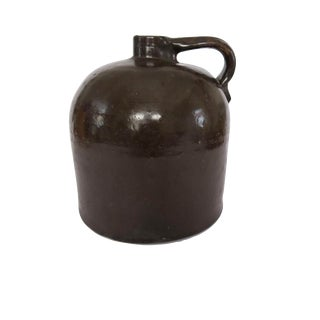 Antique Brown Whiskey Crock Stoneware Jug