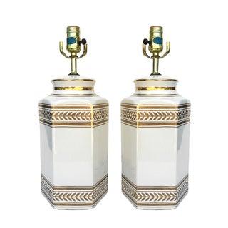 Regency White Ceramic Gold Wheat Table Lamps - S/2