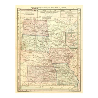 Antique 1889 Map of North Central United States