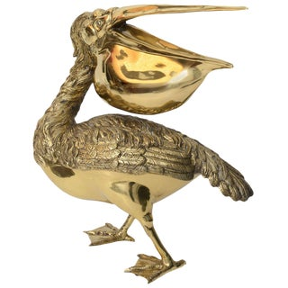 Polished Brass Pelican Sculpture