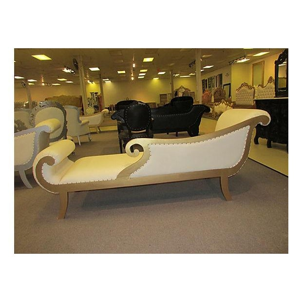Gold Gilt Leather Chase Lounge Chair - Image 3 of 7