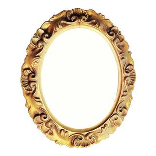 Ornate Vintage Mid-Century Oval Hollywood Regency Mirror