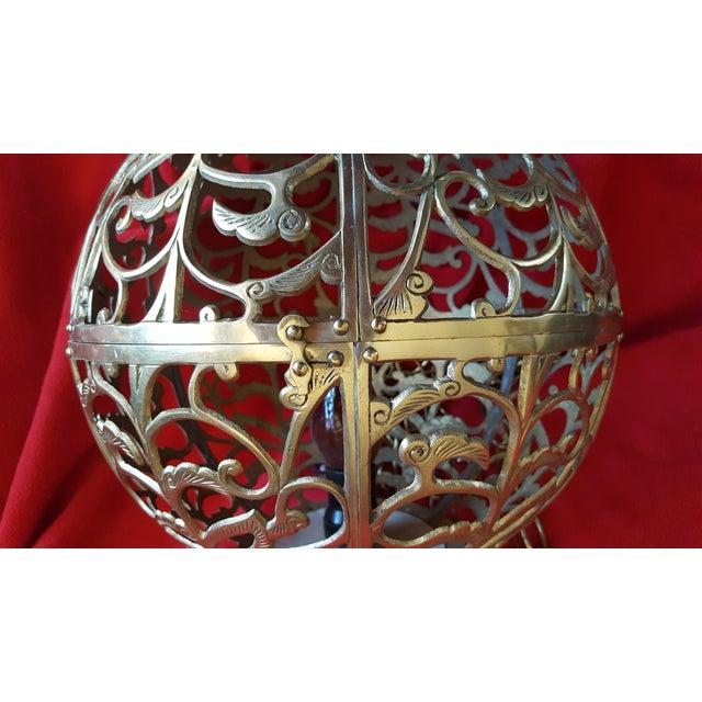Vintage Asian Brass Pierced Globe Lantern - Image 3 of 7