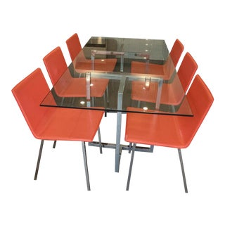CB2 Chrome Rectangular Dining Table & Chairs