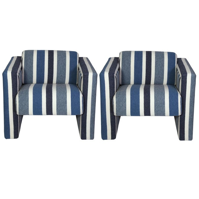 Nautical Club Chairs in Blue and White Wool - A Pair - Image 1 of 5