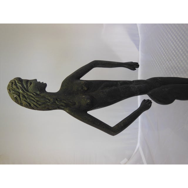 Image of Painted Bronze Nude Sculpture