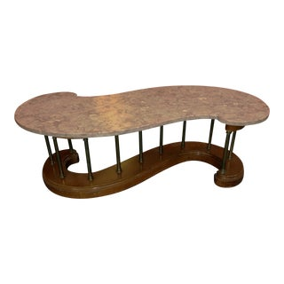 """S"" Shaped Wood and Brass Marble Top Coffee Table"