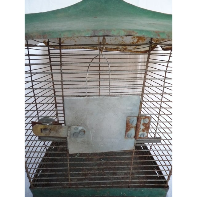 Antique Large Green Asian Inspired Birdcage - Image 5 of 8