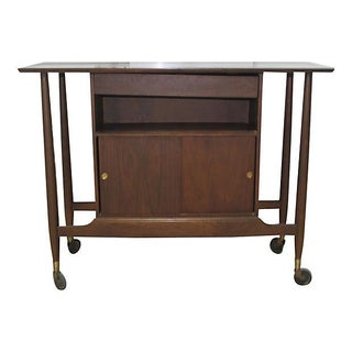 Midcentury Walnut Server Bar Cart