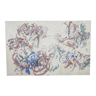 Peter Bardazzi Abstract Acrylic & Charcoal on Canvas, Signed & Dated 1972