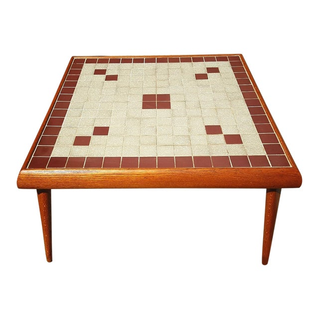 Mid-Century Modern Tile Top Corner Table - Image 1 of 5