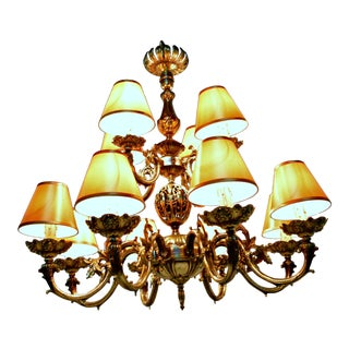 12-Light Brass Chandelier