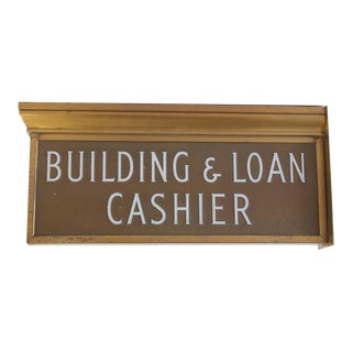 "1900s Brass Light Up Sign ""Building & Loan Cashier"""