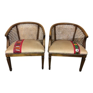Turkish Textile Upholstered Cane Accent Chairs - A Pair