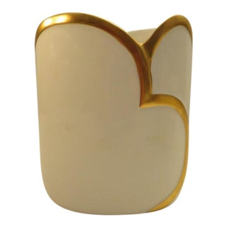 C. 1940 Porsgrund Vintage White & Gold Vase