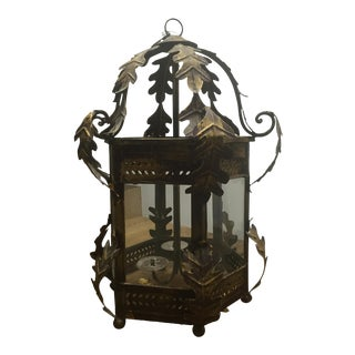 Vintage Iron Chandelier with Glass Windows