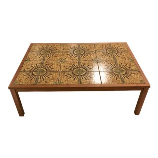 Mid Century Danish Modern Teak Tile Top Coffee Table