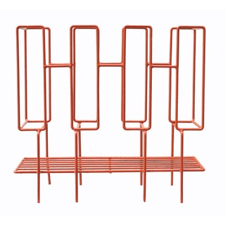 1960s Red Metal LP Record Rack