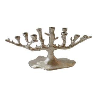 Silver Tree Menorah Candelabra