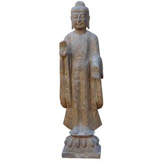 Chinese Stone Standing Abhaya Mudra Buddha Statue