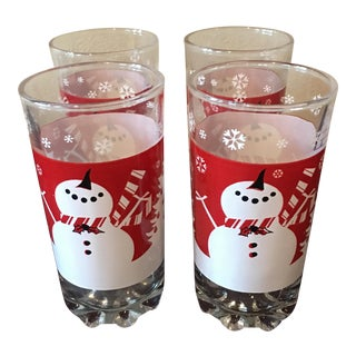 Retro Holiday Snowman Hiball Glasses - Set of 4