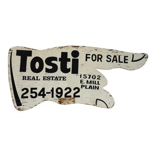 Vintage Double Sided Wooden Hand Real Estate Sign