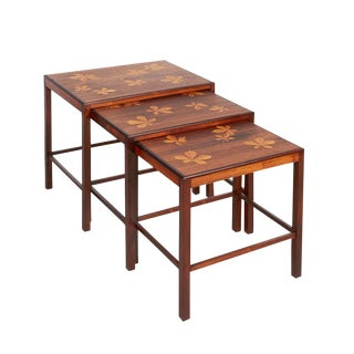 Mid Century Nesting Tables with Inlay