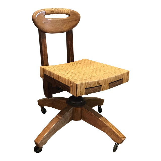 Craftsman Wooden Desk Chair on Casters | Chairish