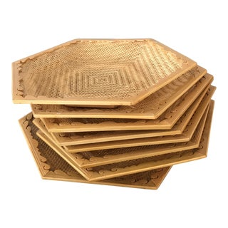 Wooden & Wicker Coasters - Set of 8