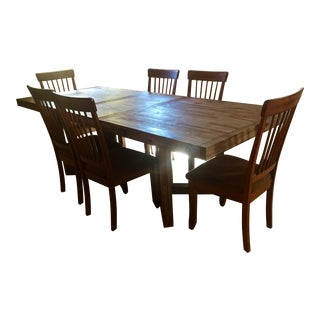 Oversized Farm Table & Cherry Chairs Dining Set