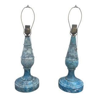 Vintage Italian Blue Marble Table Lamps - A Pair