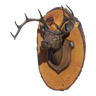 Vintage Bronze Moosehead on Pine Plaque