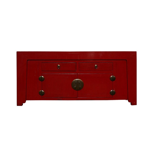 Image of Chinese Red Lacquer Moon Face Console Table